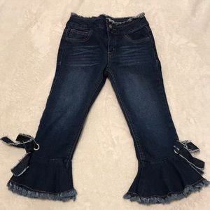 GB girls cropped flared fringed jeans